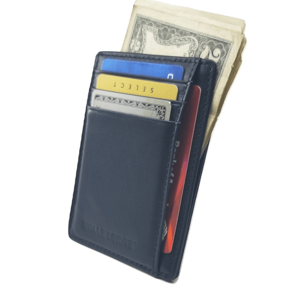 RFID Front Pocket Wallet and Card Holder with ID Window - DEC RFID BiFold Front Pocket Wallet WALLETERAS Black - Full Leather T