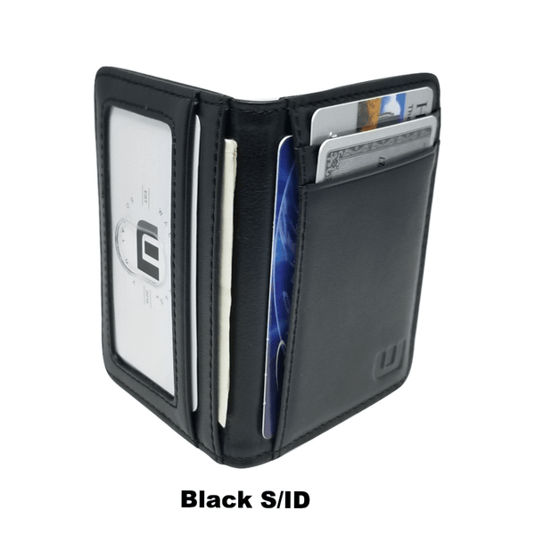 Card Holder with RFID and ID Window - S/ID RFID BiFold Front Pocket Wallet WALLETERAS S/ID Black Full Leather