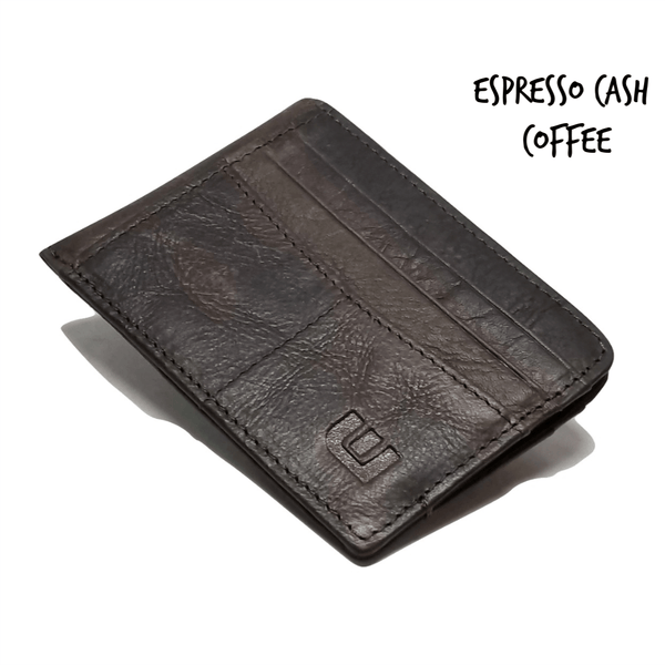 RFID Front Pocket Wallet with ID Window - Espresso Cash RFID Credit Card Holder WALLETERAS Coffee - RFID Crazy Horse Leather