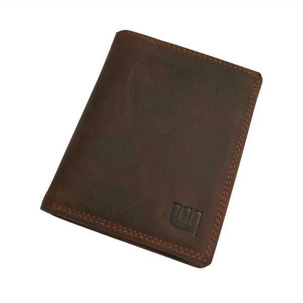 High Capacity / Vertical Style Bi Fold Leather Wallet Bi-Fold wallet WALLETERAS Dark Brown