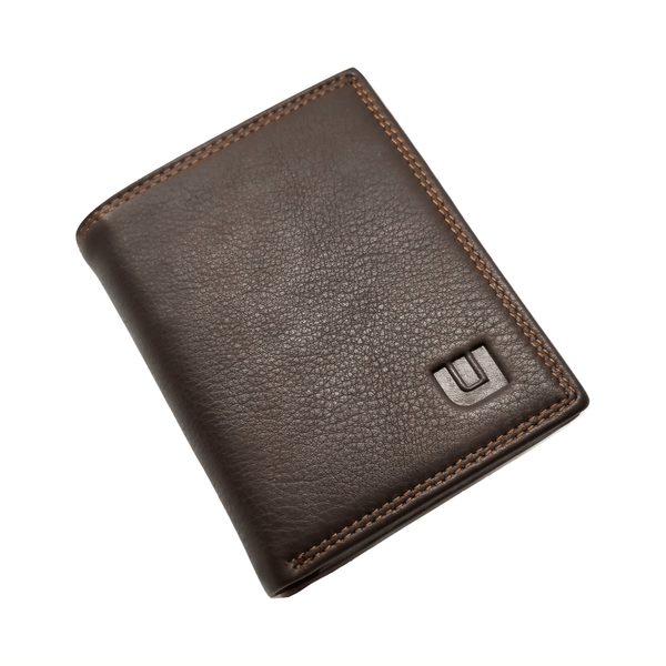 High Capacity / Vertical Style Bi Fold Leather Wallet Bi-Fold wallet WALLETERAS Coffee