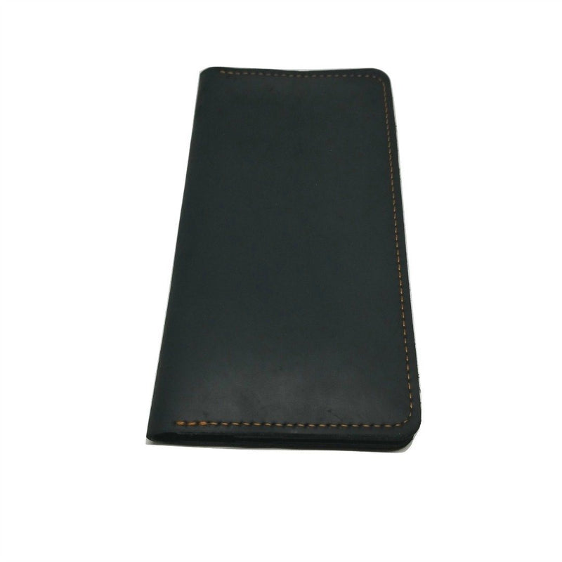 Long Wallet in Crazy Horse Leather- WALLETERAS -Black