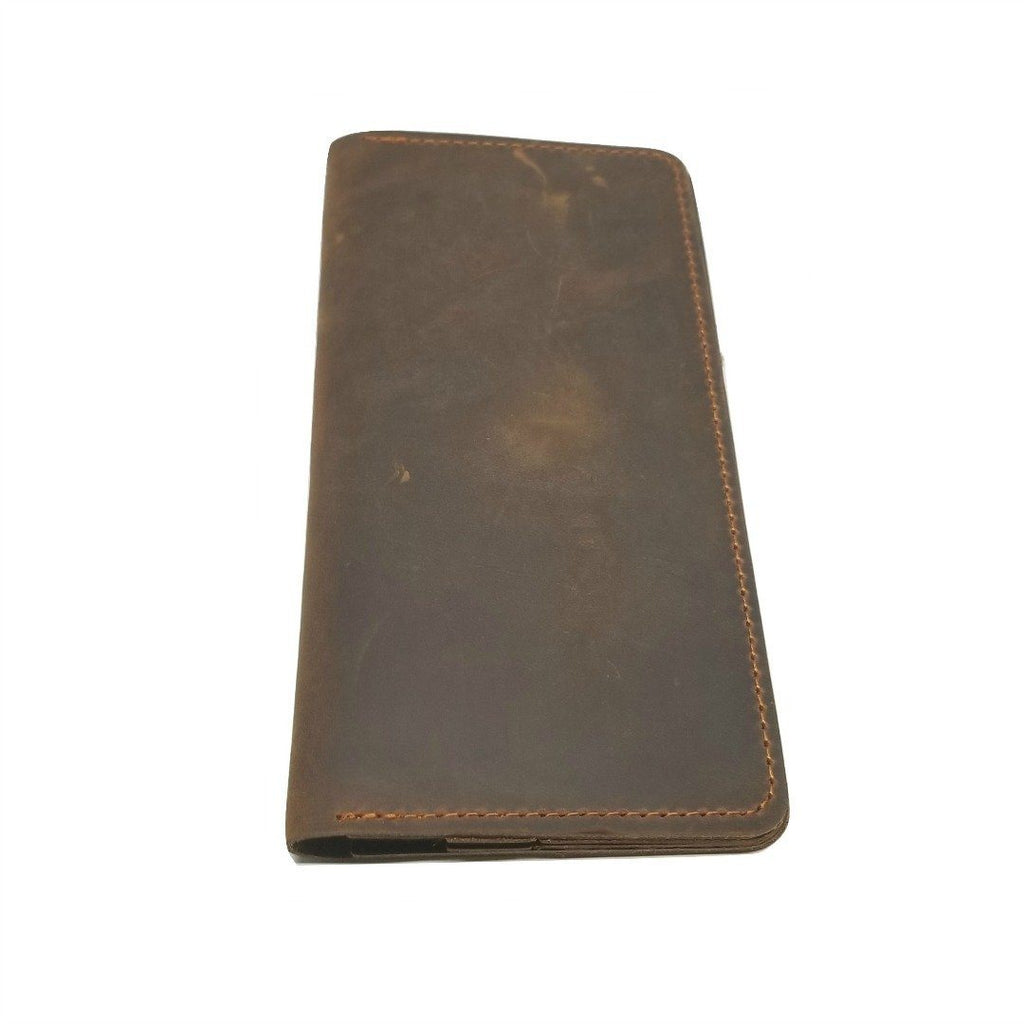 Long Wallet in Crazy Horse Leather- WALLETERAS - Broown