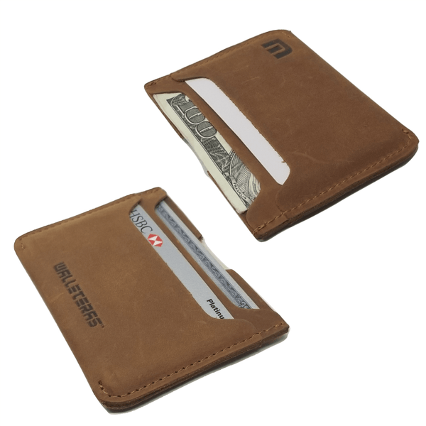 Minimalist Card Holder in Crazy Horse Leather - Solo -walleteras