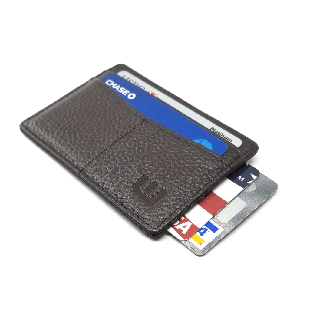 super thin wallet in pebbled leather chocolate