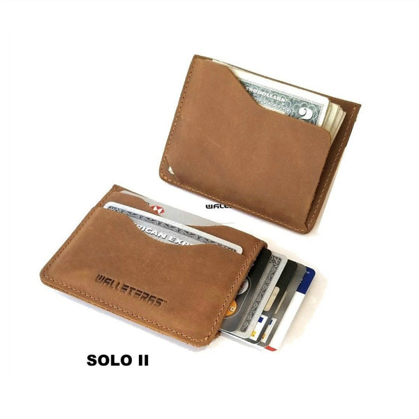 Small Front Pocket Wallet in Crazy Horse Leather - Solo II Credit Card Holders WALLETERAS
