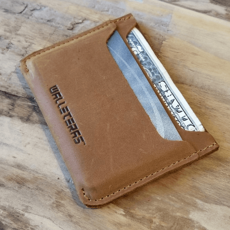 Minimalist Card Holder in Crazy Horse Leather - Solo Credit Card Holders WALLETERAS Sahara