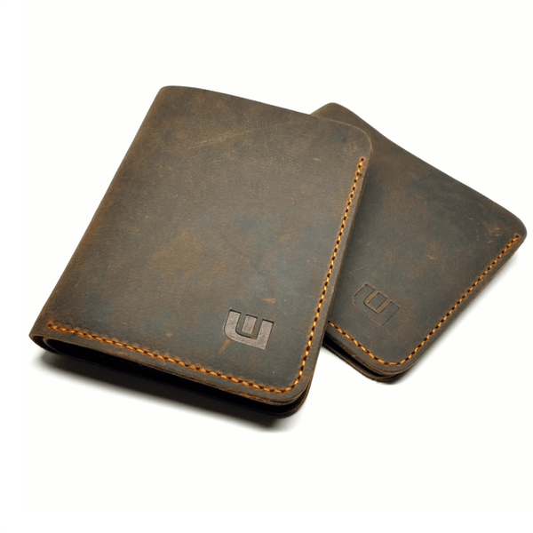 Brown Crazy Horse Leather Bifold Wallet  - Cowboy wallets -walleteras
