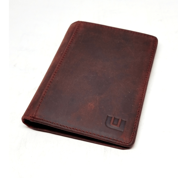 Vertical Style RFID Bifold in Crazy Horse Leather - Vertex Bi-Fold wallet WALLETERAS Wine Red w/RFID