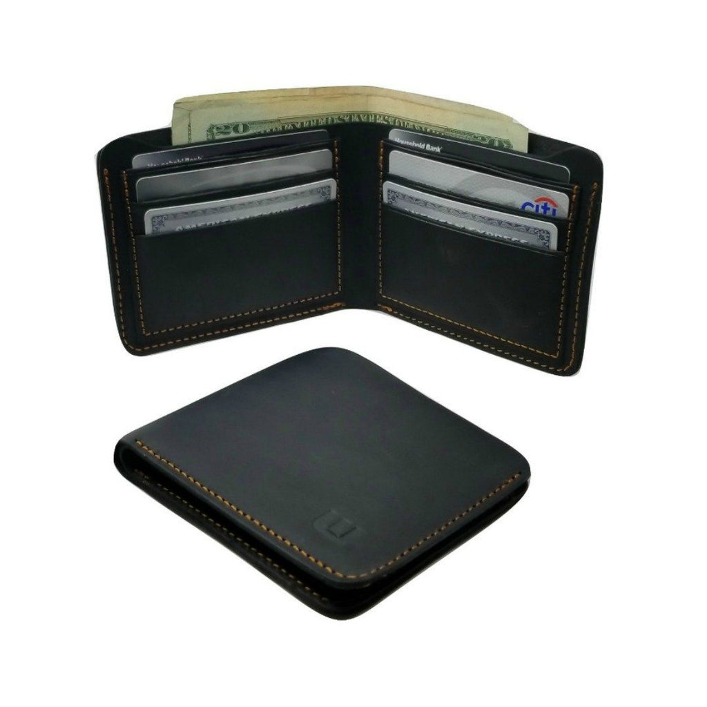 Black Crazy Horse Leather Bi Fold Wallet - Cowboy Wallet -walleteras