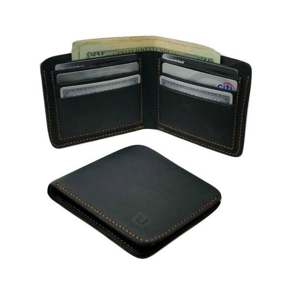 Black Crazy Horse Leather Bi Fold Wallet - Cowboy Wallet Bi-Fold wallet WALLETERAS Horizontal Style Black