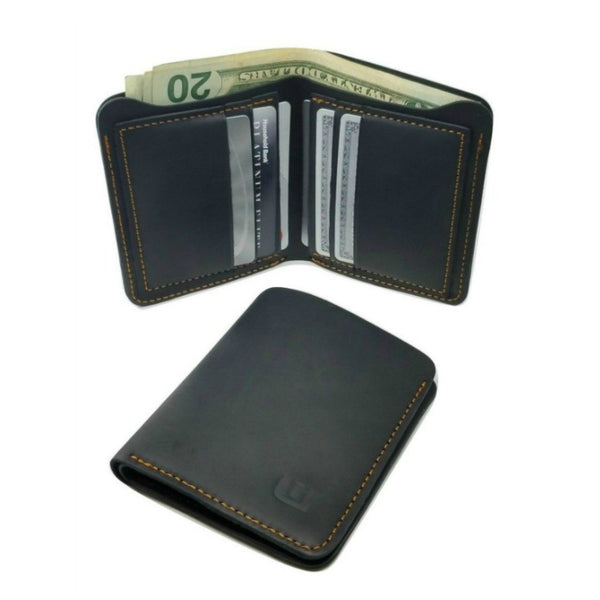 Black Crazy Horse Leather Bi Fold Wallet - Cowboy Wallet Bi-Fold wallet WALLETERAS Vertical Style Black