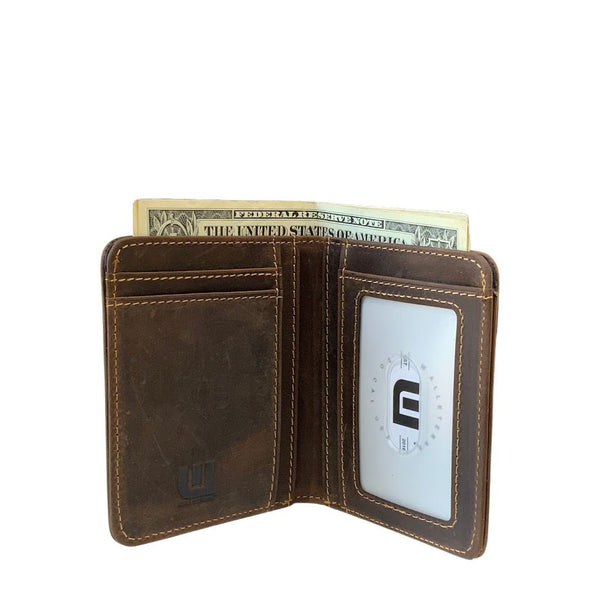 Two ID Bifold Leather Wallet - Heritage TX Bi-Fold wallet WALLETERAS