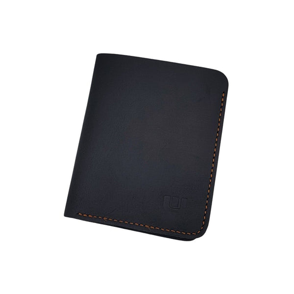 Bifold Wallet in Black Crazy Horse Leather - CWB Bi-Fold wallet WALLETERAS Vertical Style Black