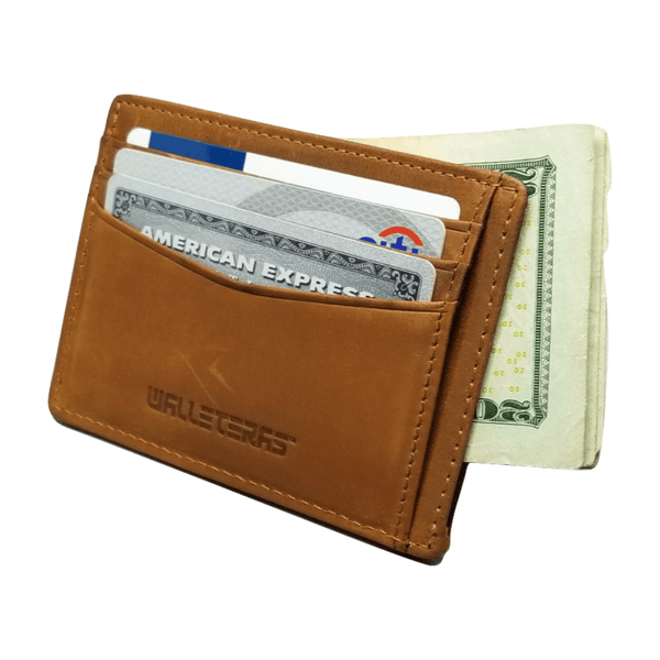 RFID Front Pocket Wallet and Card Holder - Otto RFID Credit Card Holder WALLETERAS Camel - Open
