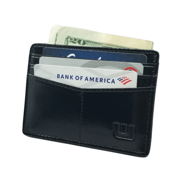 "RFID Front Pocket Wallet / Card Holder with ID Window - Espresso ""Plus"" Credit Card Holders WALLETERAS Black -2 Waxed"
