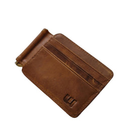 Front Pocket Wallet and Credit Card Holder with Money Clip - MC12 Money Clip WALLETERAS Brown MC12