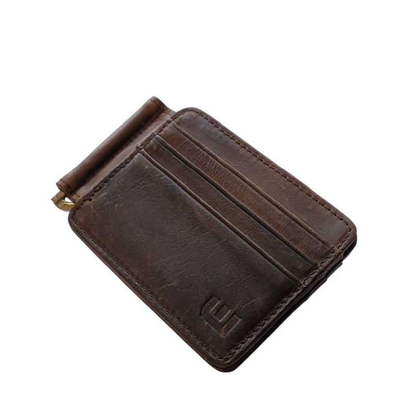 Front Pocket Wallet and Credit Card Holder with Money Clip - MC12 Money Clip WALLETERAS Coffee MC12