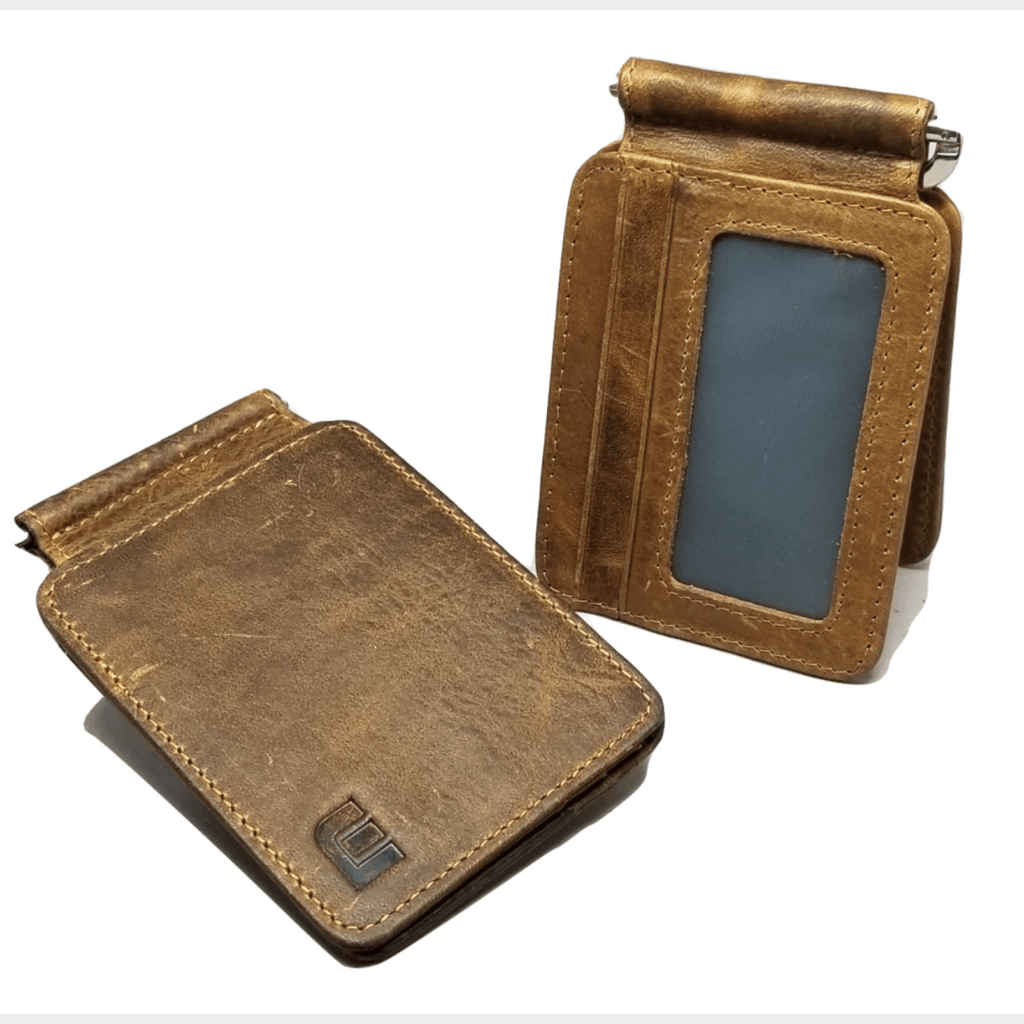 Front Pocket Wallet with Money Clip and ID Window - MC7PLUS Money Clip WALLETERAS Brown