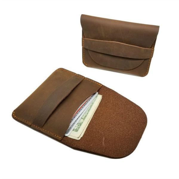 Minimalist Crazy Horse Leather Credit Card Holders -walleteras