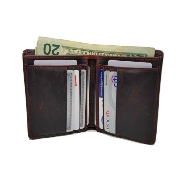 Vertical Style RFID Bifold in Crazy Horse Leather - Vertex Bi-Fold wallet WALLETERAS