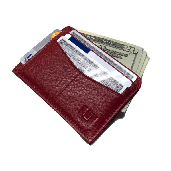RFID Front Pocket Wallet with ID Window - Espresso Cash RFID Credit Card Holder WALLETERAS Red Top Grain - Pebble