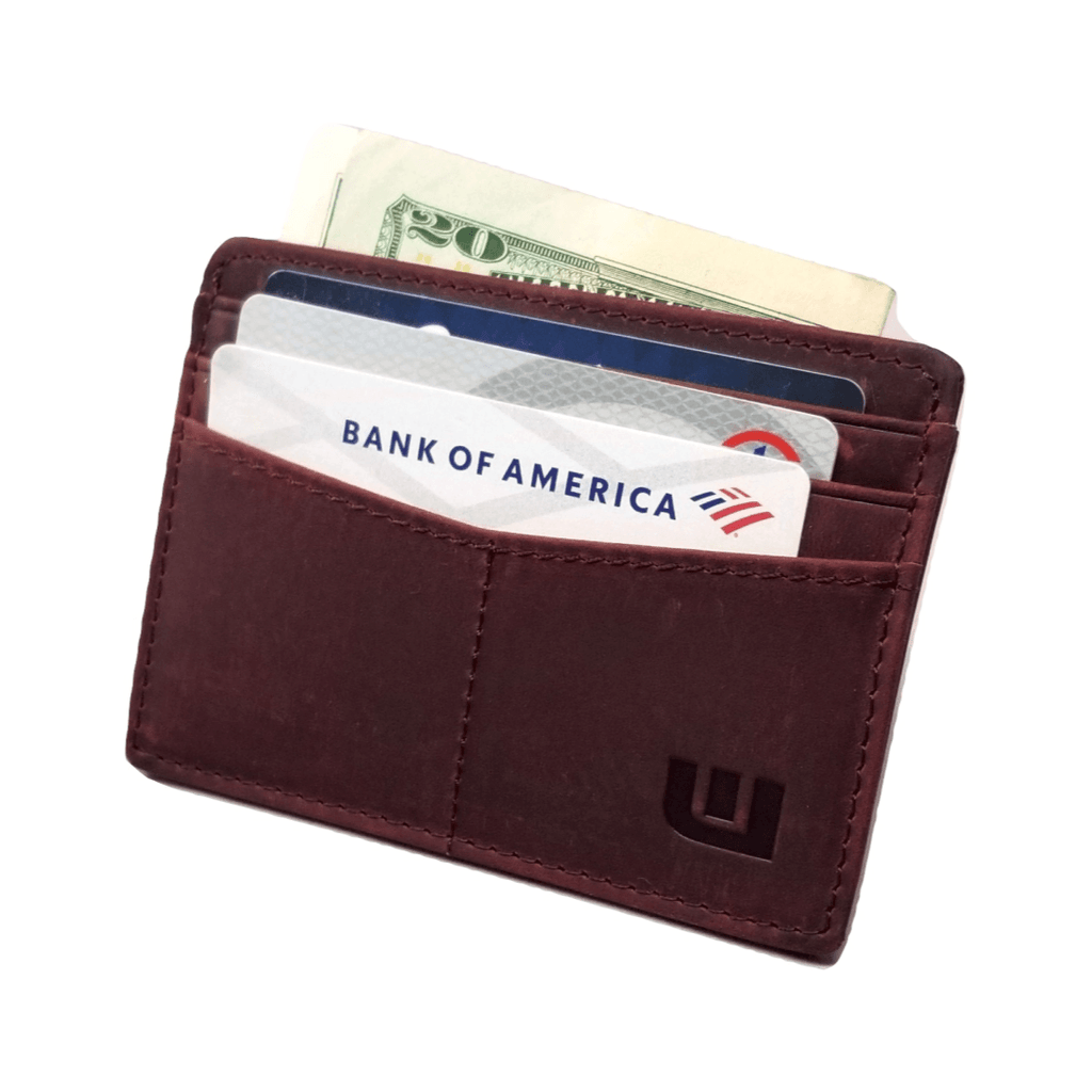"RFID Front Pocket Wallet / Card Holder with ID Window - Espresso ""Plus"" Credit Card Holders WALLETERAS Wine Red"