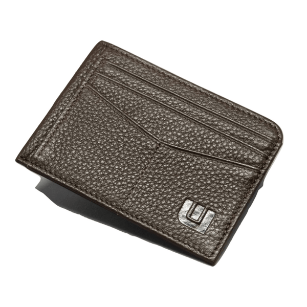 RFID Front Pocket Wallet with ID Window - Espresso Cash RFID Credit Card Holder WALLETERAS Mocha Top Grain-Pebble