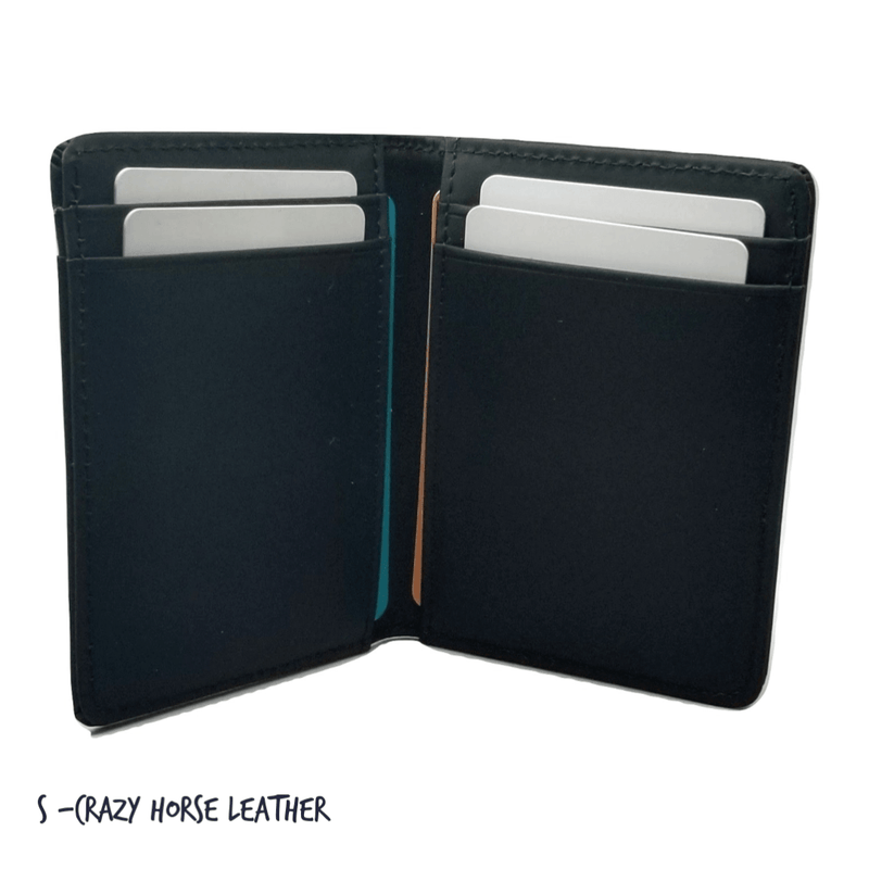 Front Pocket Wallet with RFID in Crazy Horse Leather - Double Espresso RFID BiFold Front Pocket Wallet WALLETERAS
