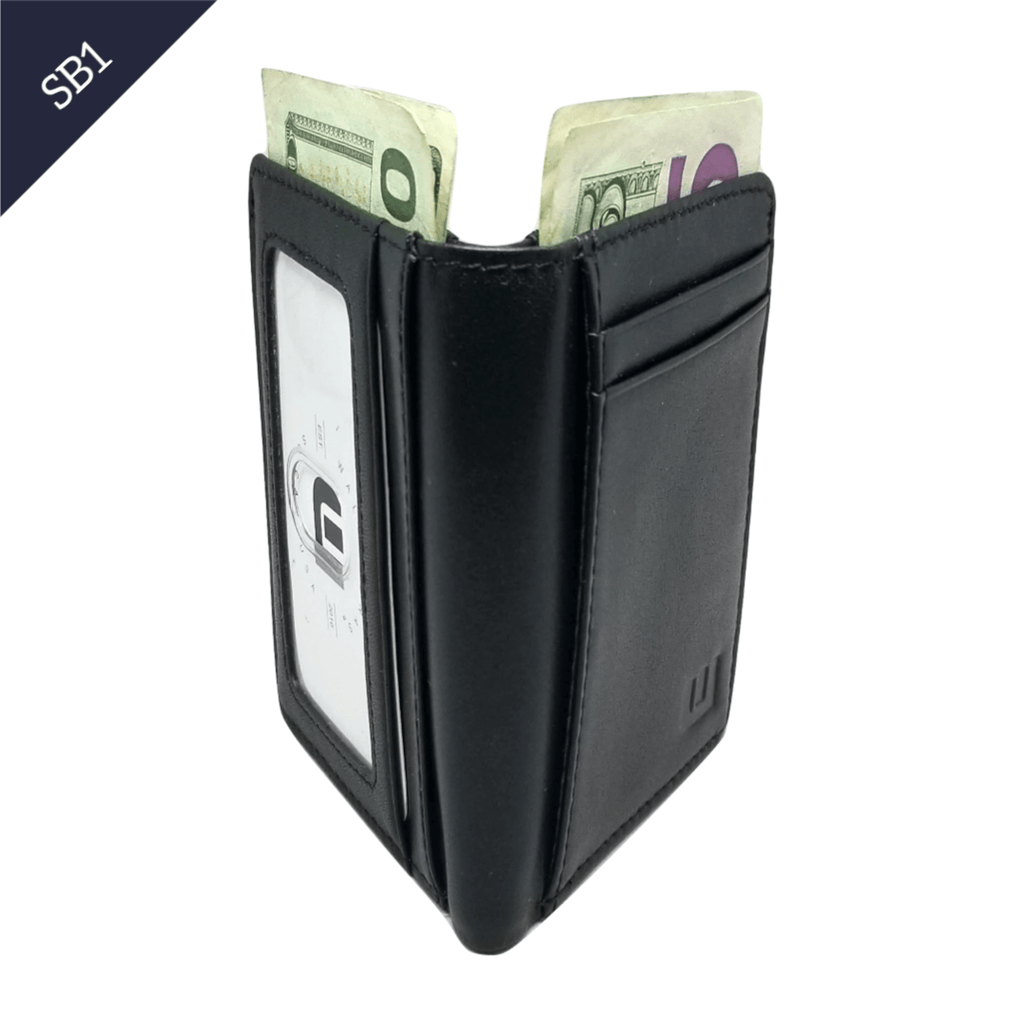 Bifold Leather Wallet w/RFID and ID Window - SB1 Bi-Fold wallet WALLETERAS SB1 Black