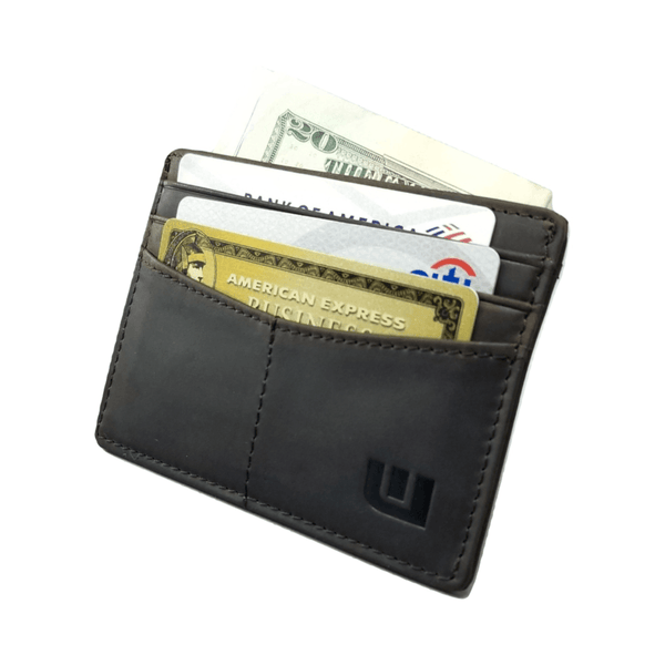 "RFID Front Pocket Wallet / Card Holder with ID Window - Espresso ""Plus"" Credit Card Holders WALLETERAS Coffee"