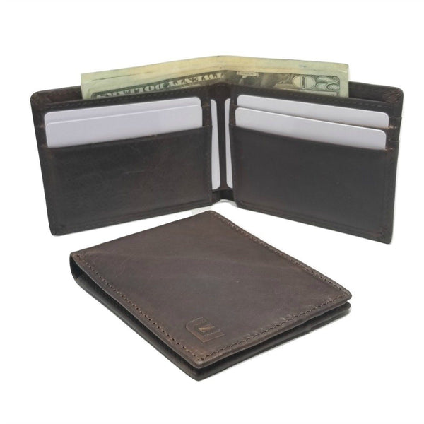 Slim Front Pocket Bifold Wallet with ID Window in Dark Brown - MC7PLUSB Bi-Fold wallet WALLETERAS