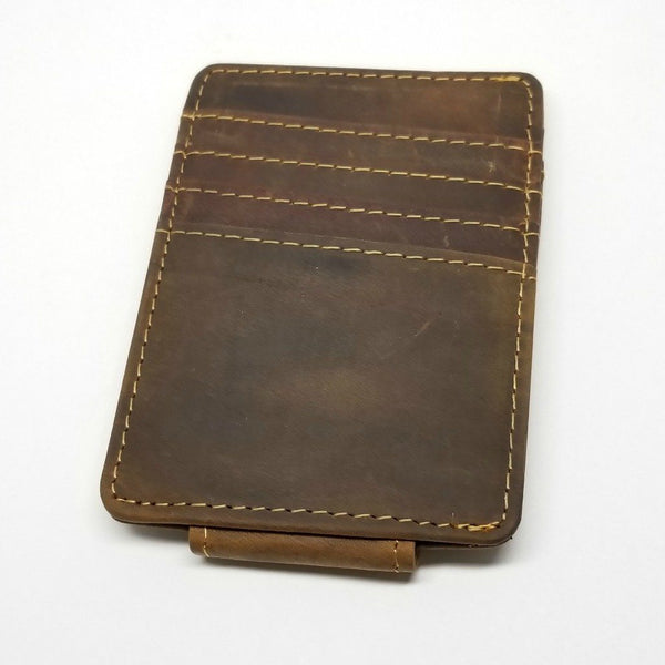 Vintage Look Crazy Horse Leather Money Clip with A Side Pocket Money Clip Walleteras Dark Brown