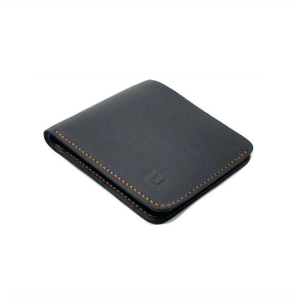 Black Crazy Horse Leather Bi Fold Wallet - Cowboy Wallet - walleteras