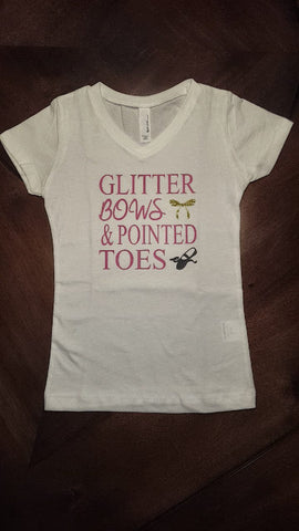Glitter Bows & Pointed Toes Girls Youth T shirt