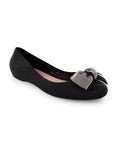 Sirena Big Bowed Black Ballerinas
