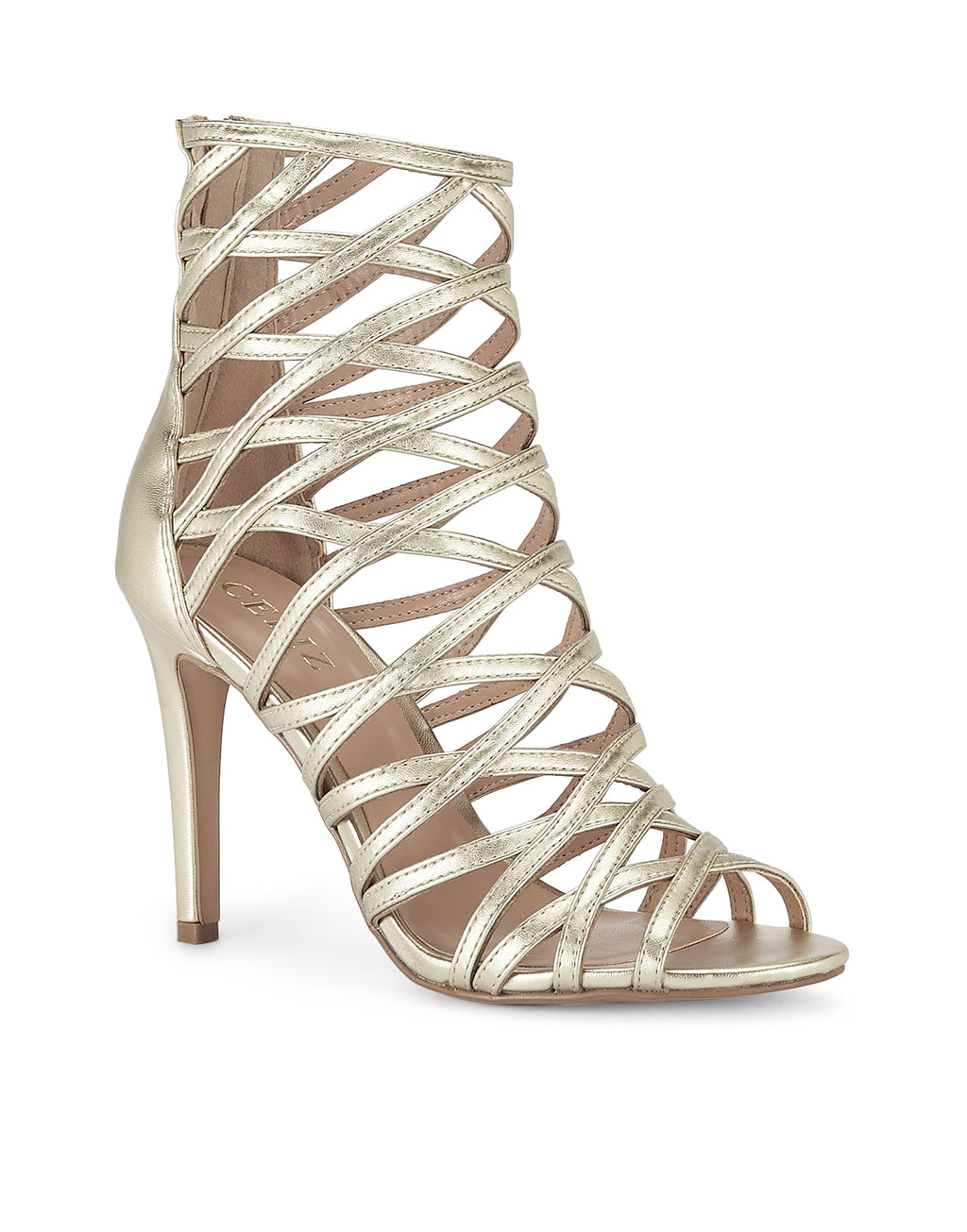 Salome Gold Stiletto Sandals