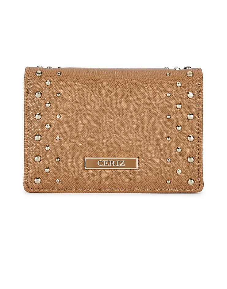 Lumiere Tan Stud Detail Wallet