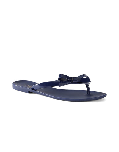 Jessica Navy Open Toe Flats