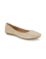 Aubry Gold Square Toe Ballerinas