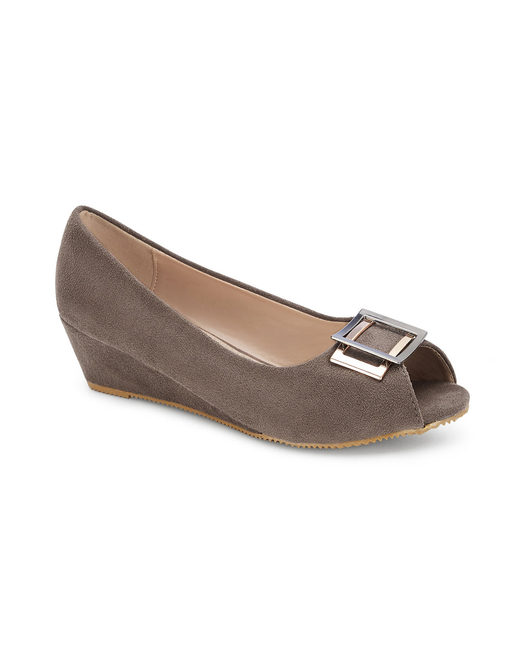 Lucette Taupe Open Toe Wedges