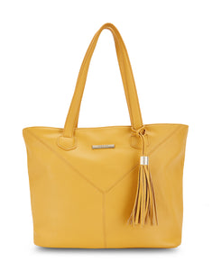 Voletta Mustard Faux Leather Tote