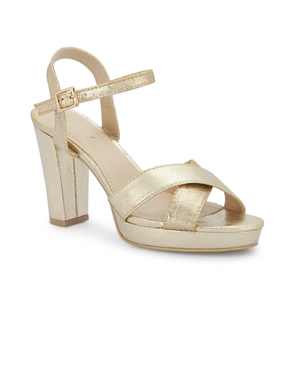 Helene Light Gold Open Toe Platforms