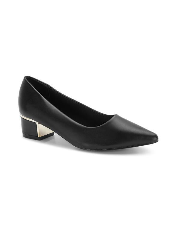 Mireille Black Pointed Toe Block Heels