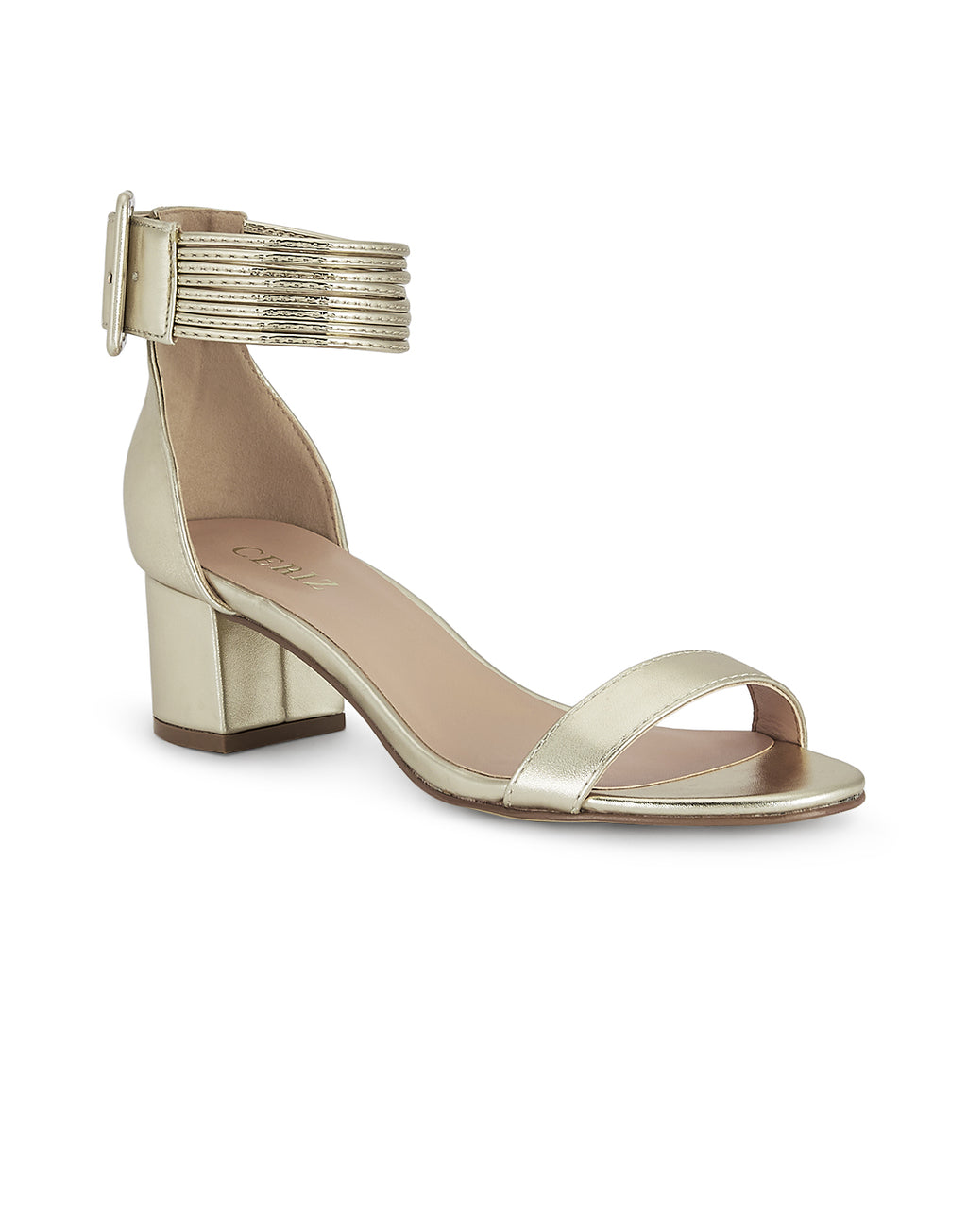 Noelle Block Heel Gold Sandals