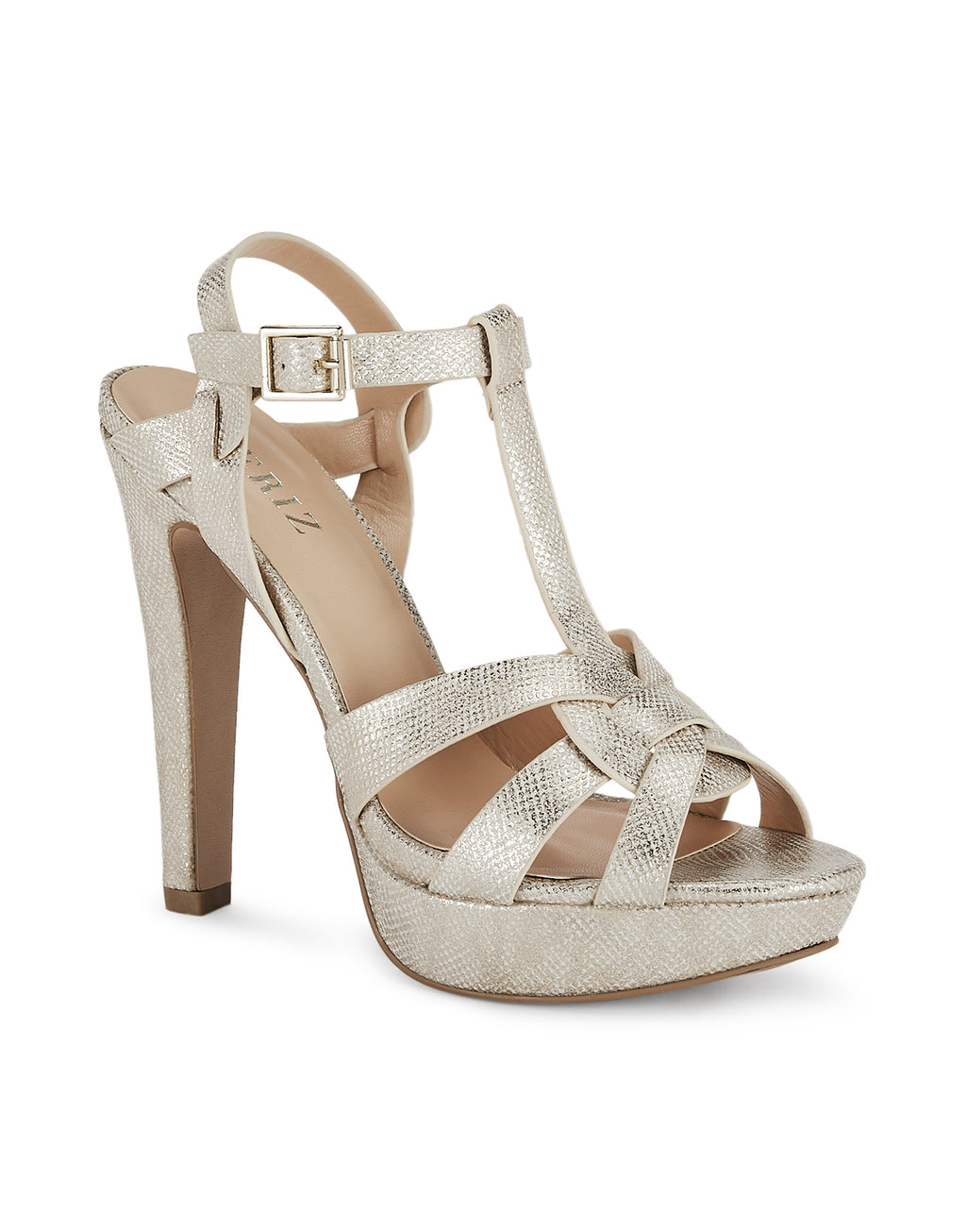 Andrea Platform-heeled Skin Gold Sandals