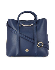 Lenora Navy Circular Handle Handbag
