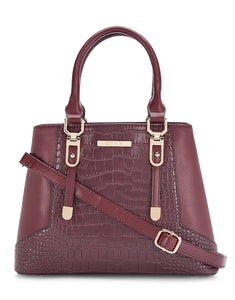 Afrodille Structured Maroon Handbag