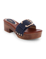 Larissa Navy Jagged Strap Sandals