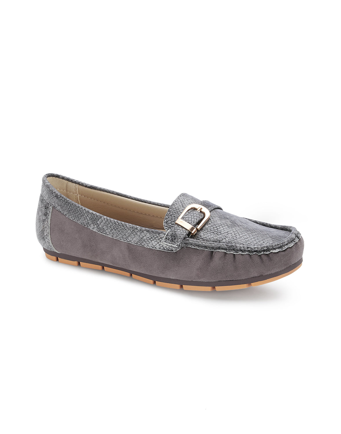 Noreis Grey Round Toe Loafers